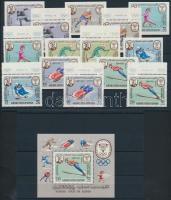1967 Téli olimpia, Grenoble sor Mi 134-140 A+B + blokk Mi 7A