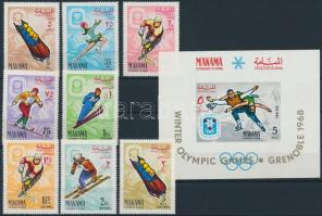 1967 Téli olimpia, Grenoble sor Mi 57-54 A + blokk Mi 2 A