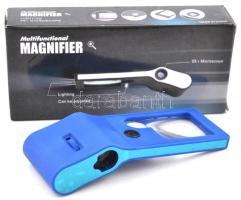 Magnifier multifunkcionális nagyító 55x nagyítás, led lámpával, hozzá fekete tok, új állapotban, eredeti csomagolásban (kék színben) / Magnifier