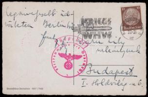 1940 Cenzúrás képeslap Berlinből háborús téli segély propaganda bélyegzéssel
