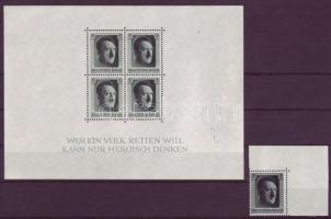 1937 Hitler blokk és bélyeg Mi blokk 7 + 646