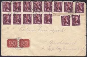 1946 (18. díjszabás) Távolsági levél 50 x Ajánlás + 2 x 100 milpengő bérmentesítéssel