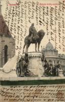 Kolozsvár, Mátyás király szobor / statue (fl)