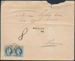 1871 10kr pár túlsúlyos ajánlott levélen GYŐR - RÉVKOMÁROM (felül sérült)