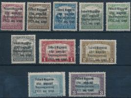 Nyugat-Magyarország I. 1921 Teljes sor (**38.450) / Mi 1-10 Signed: Bodor