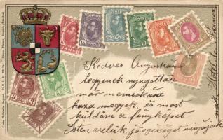 Romania; set of stamps, coat of arms, Ottmar Ziehers Carte Philatelique Emb. litho (EB)