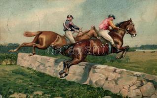 Horse racers Emb. litho