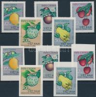 Trópusi gyümölcs fogazott és vágott sor, Tropical fruit perf and imperf set