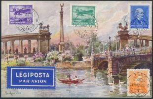 1934 TCV légi képeslap Losoncra / TCV airmail postcard to Czechoslovakia