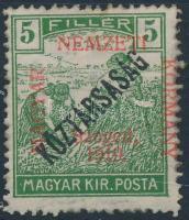 Szeged 1919 Arató/Köztársaság 5f (7.500) / Mi 29 Signed: Bodor (apró hibák / minor faults)