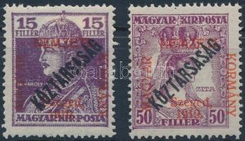 Szeged 1919 Károly/Köztársaság 15f + Zita/Köztársaság 50f (7.000) / Mi 37, 40 Signed: Bodor