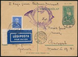 1937 1. légiposta levelezőlap Szolnok - Budapest