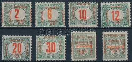 Szeged 1919 Portó sor (39.000) / Postage due Mi 1-8 Signed: Bodor