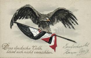 Das deutsche Volk lässt sich nicht vernichten / The German people can not be destroyed, WWI German propaganda, eagle, flag, A német népet nem lehet elpusztítani, német I. világháborús propaganda, sas zászlóval