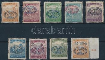 Debrecen I. 1919 9 klf Arató érték (13.700) / Mi 14-17, 19a, 21, 23-25 Signed: Bodor