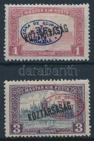 Debrecen I. 1919 Parlament/Köztársaság 1K + 3K piros felülnyomással (6.500) / Mi 51, 53a Signed: Bodor