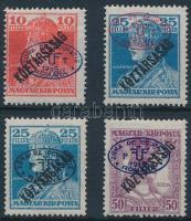 Debrecen I. 1919 Károly/Köztársaság 10f + 25f piros és fekete felülnyomással + Zita/Köztársaság 50f (20.000) / Mi 56, 59 a-b, 61 Signed: Bodor