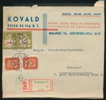 1946 (21. díjszabás) Ajánlott helyi levél Milpengős 2x20.000mP + Milliárdos 2x500md P bérmentesítéssel / Mi 2x913 + 2x918 on registered local cover (boríték szétnyitva / opened for exposition purpose)