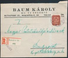 1946 (20. díjszabás) Ajánlott helyi levél Milpengős 2.000mP bérmentesítéssel / Mi 909 on registered local cover (boríték szétnyitva / opened for exposition purpose)