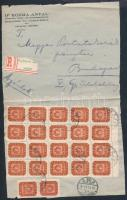 1946 (21. díjszabás) Ajánlott helyi levél 22 db Milpengős bélyeggel bérmentesítéssel / Registered local cover with 22 stamps (Mi 2x913 + 20x915) (boríték szétnyitva / opened for exposition purpose)