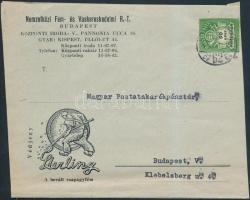 1946 (27. díjszabás) Helyi levél 50ezer Adópengős bérmentesítéssel, korábbi díjszabás szerint / Mi 936 on local cover (boríték szétnyitva / opened for exposition purpose)
