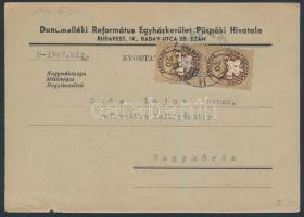 1946 (12. díjszabás) Távolsági Nyomtatvány Lovasfutár 20ezerP párral bérmentesítve / Printed matter