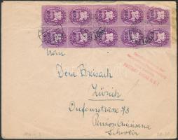1946 (14. díjszabás) Levél Zürichbe 10 db Lovasfutár 800eP bélyeggel bérmentesítve / 10x Mi 800 on cover to Zürich (1 bélyeg sérült / 1 stamp damaged)