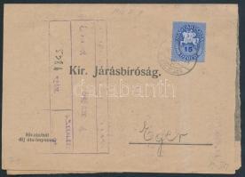 1946 (8. díjszabás) Kézbesítési bizonyítvány Lovasfutár 15eP bérmentesítéssel / Mi 882 on printed matter
