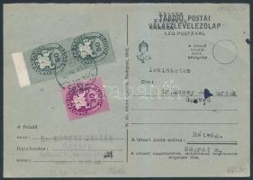 1946 (12. díjszabás) Levelezőlap Lovasfutár 30eP + 2x50eP bérmentesítéssel