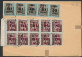 1946 (9. díjszabás) Távolsági hivatalos levél 15 db Betűs (II) bélyeggel bérmentesítve