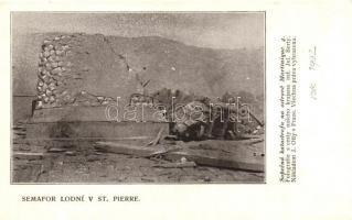 1902 Saint-Pierre, disaster of the volcanic eruption, destroyed semaphor ship