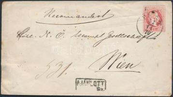 1867 5kr díjjegyes boríték hátoldalán 10kr, ajánlott levélként / 10kr on 5kr PS-cover PEST - WIEN RECOMAND