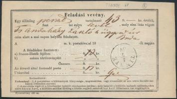 1868 Feladóvevény / Aufgabs-Recepisse TINNYE