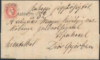 1868 3 x 5kr ajánlott levélen, a hátoldali 2 bélyeg bontásnál eltépve / 3 x 5kr on registered cover, 2 stamps on the backside teared SZENDRŐ - MISKOLCZ - Diósgyőr