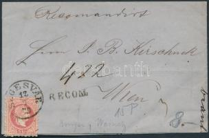 1870 3 x 5kr ajánlott levélen, a hátoldali 2 bélyeg bontásnál eltépve / 3 x 5kr on registered cover, 2 stamps on the backside teared SEGESVÁR - WIEN