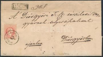 1869 3 x 5kr ajánlott levélen, a hátoldali 2 bélyeg bontásnál eltépve / 3 x 5kr on registered cover, 2 stamps on the backside teared FÜZESGYARMATH - BERETTYÓ-UJFALU - TOKAY - Diósgyőr