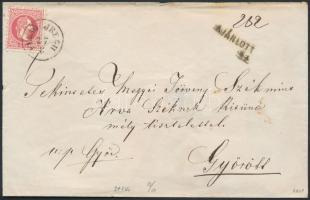 1870 4 x 5kr ajánlott levélen, egy hátoldali bélyeg sérült / on registered cover, 1 stamp on the backside damaged FELSŐ JREGH - SIÓFOK - GYŐR