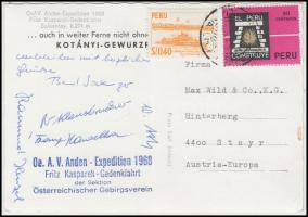 1968 Az osztrák Andoki Expedíció tagjai által aláírt képeslap / 1968 Autograph signed postcard of the climber members of the Austrian Oe. A. V. Anden Expedition.