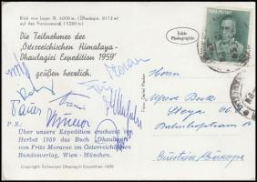 1959 Az osztrák Himalaya Expedíció hegymászó tagjai által aláírt képeslap / 1959 Autograph signed postcard of the climber members of the Austrian Himalaya Expedition.