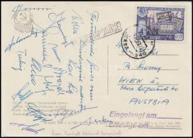 1961 Az osztrák válogatott labdarúgócsapat tagjainak saját kezű aláírásával elküldött képeslap a Szovjet csapat ellen győzelemmel végződött meccsről. / 1961 Austrian national football team members signature on postcard send from the match against the Soviet team. (Decker, Flögel, Knorr, Stolz, Fraydl, Koller)