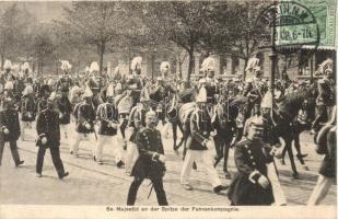 Se. Majestät an der Spitze der Fahnenkompagnie / Wilhelm II, II. Vilmos német császár felvonuláson