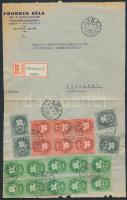 1946 (14.díjszabás) Helyi ajánlott levél 20 db Lovasfutás bélyeggel bérmentesítve / Registered local cover franked with 20 stamps (boríték szétnyitva / opened for exposition purpose)