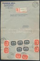 1946 (15.díjszabás) Ajánlott helyi levél Milliós 6x1mP + 5x4mP bérmentesítéssel / Registered local cover franked with 11 stamps (boríték szétnyitva / opened for exposition purpose)