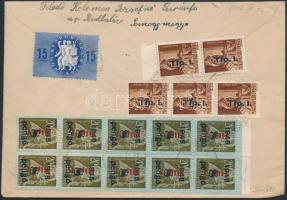 1946 (8.díjszabás) Távolsági levél 16 db bélyeggel bérmentesítve
