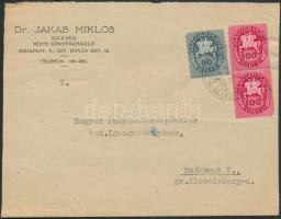1946 (13.díjszabás) Helyi levél Lovasfutás 50eP + 100eP párral bérmentesítve (boríték szétnyitva)