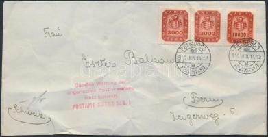 1946 (19.díjszabás) Levél Bern-be Milpengős 3000mP pár + 10.000mP bérmentesítve / Cover to Switzerland (gyűrött / crease)