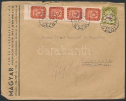 1946 (21.díjszabás) Helyi levél Milpengős 10.000mP ívszéli négyescsík + Milliárdos 200mdP bérmentesítéssel / Local cover