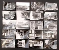 cca 1987-1989 Budapest, Nosztalgia villamosok építése, forgalomba helyezése, Karai S. felvételei, 36 db fotó, 9x14 cm és 10x15 cm