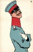 German military officer, art postcard signed E.F., Német katonatiszt, művészeti képeslap aláírással: E.F.