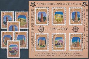 2005 50 éves az Europa CEPT bélyeg sor Mi 449-454 A + blokk 44A